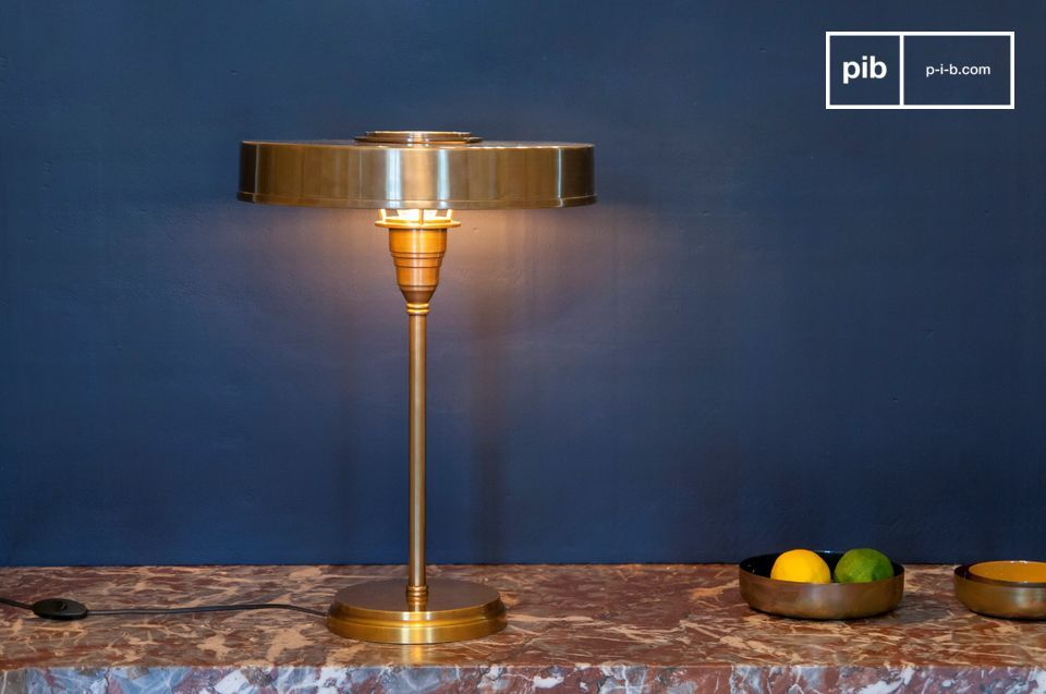 Gold brass table lamp Amber