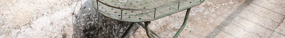 Material Details Green woven metal folding table