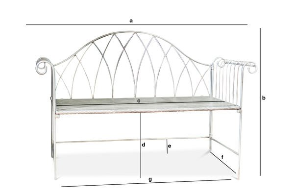 Product Dimensions Grey bench Metalo