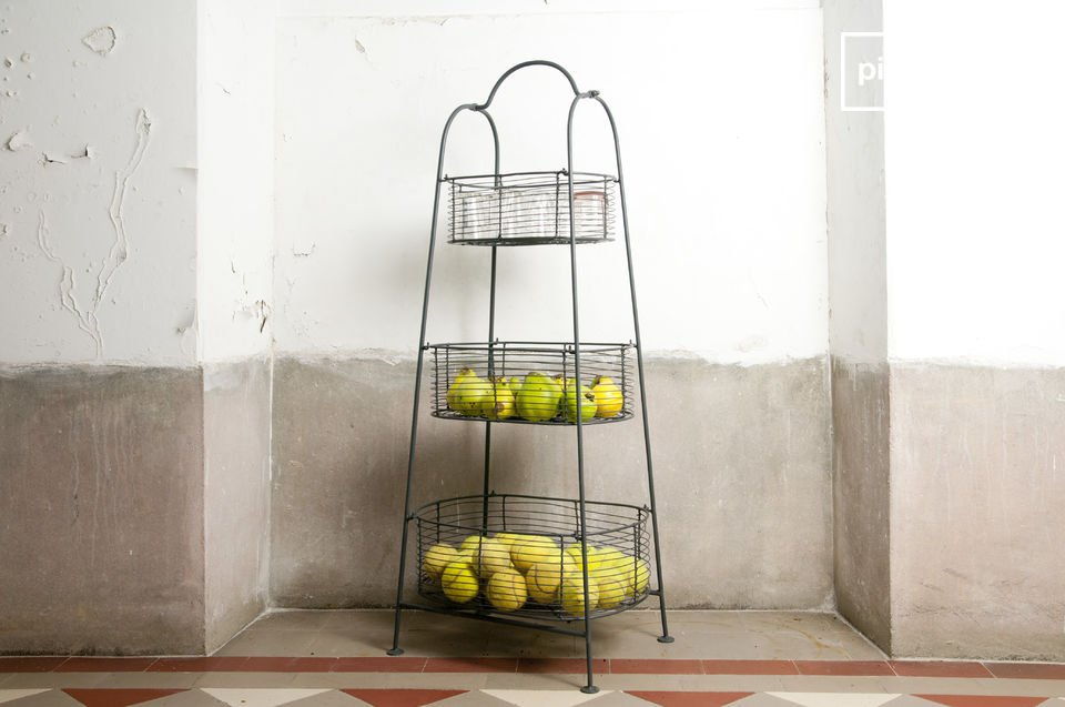 Grey metal rack with 3 baskets