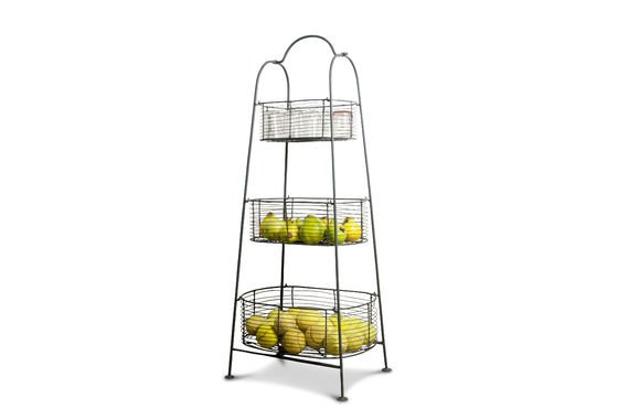Grey metal rack with 3 baskets Clipped