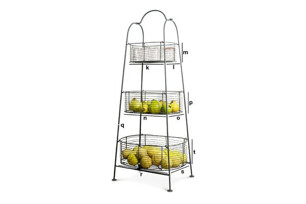 Product Dimensions Grey metal rack with 3 baskets