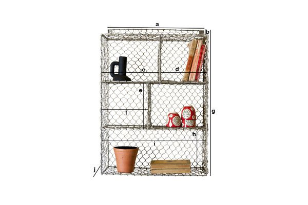 Product Dimensions Grid wall shelf with 5 compartments
