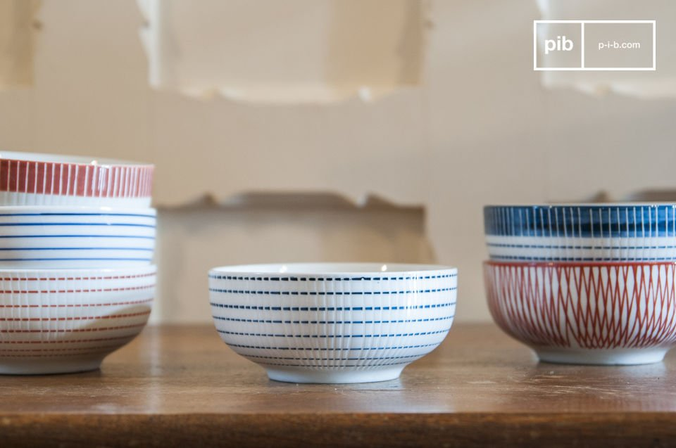 Each bowl has a unique geometric pattern.