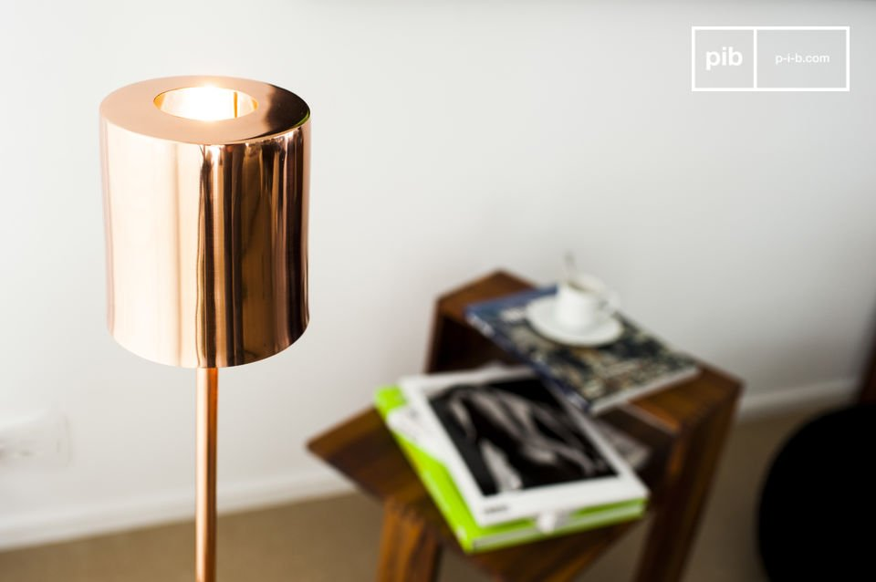 A copper-coloured design lamp for Scandinavian warmth