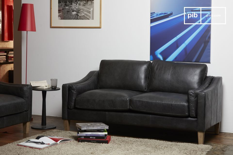 Beautiful full grain black leather sofa