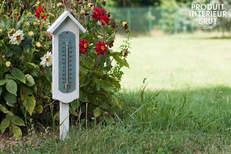 A charming outdoor thermometer with a base