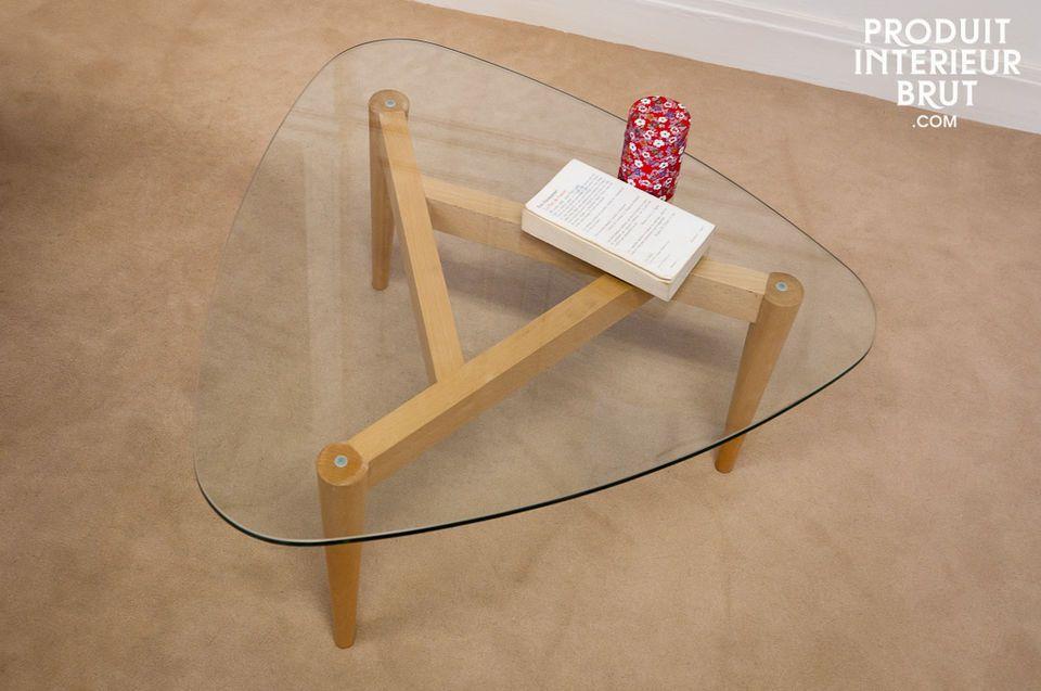 Light glass tabletop, vintage style tripod legs