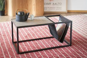 Ibiza stone coffee table with magazine holder