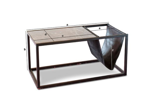 Product Dimensions Ibiza stone coffee table with magazine holder
