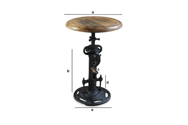 Product Dimensions Industrial stool with crank