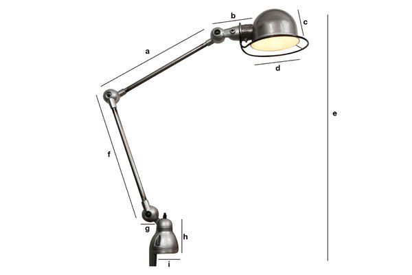 Product Dimensions Jieldé Loft light with clamp