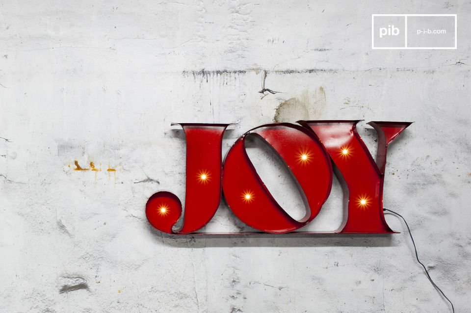 The neon sign Joy is a decorative object that will add a unique touch to your interior