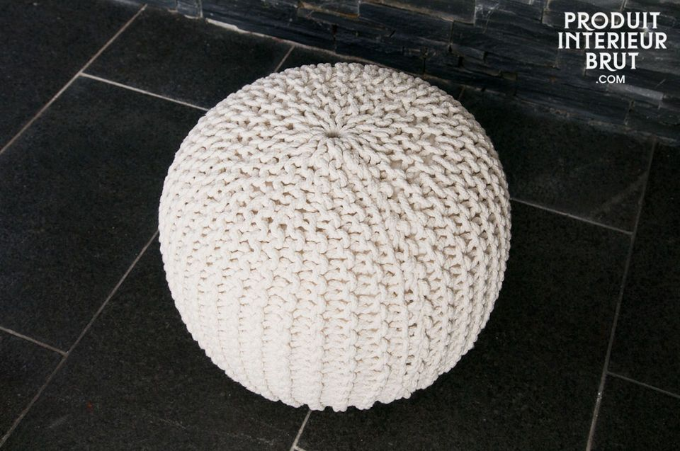 Add a warm note to a coffee table with this very soft creamy-white Kidrön pouf