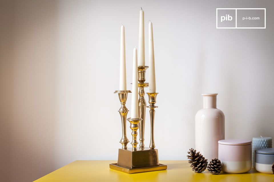Golden candlestick with a unique presence.