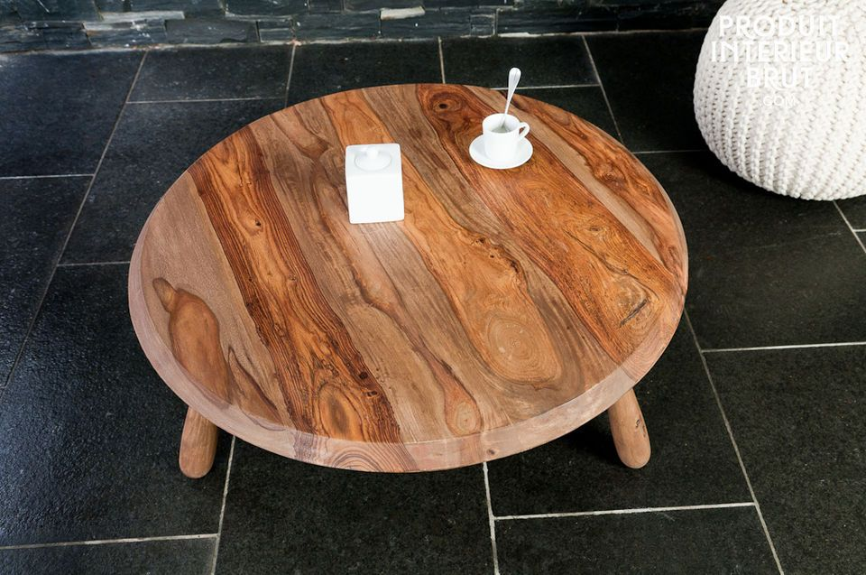 Three-legged solid wood living room table