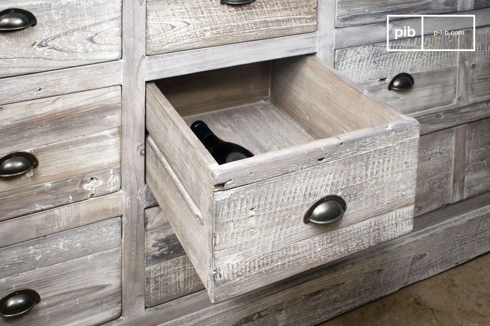 Made entirely out of reclaimed old pine hand-distressed in matte light grey
