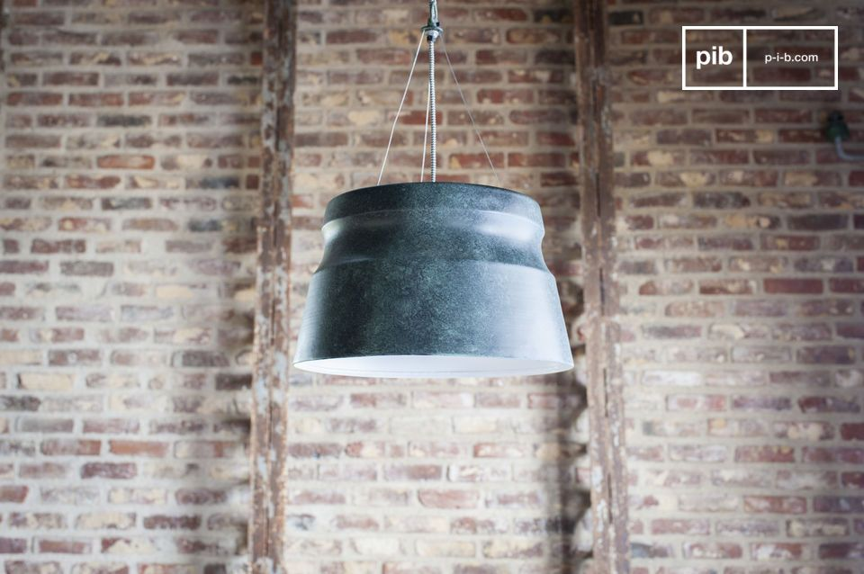 A graphic lamp with industrial accents