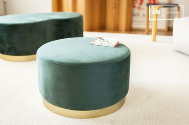 Large brass and velvet pouf Dallas