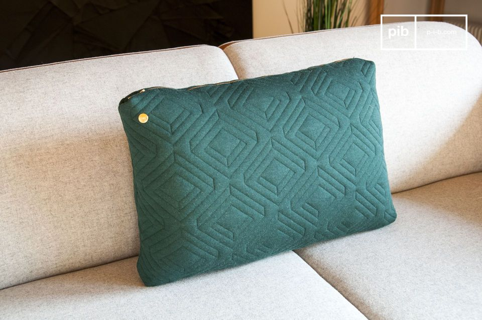 Large Dark Green Quilted Cushion