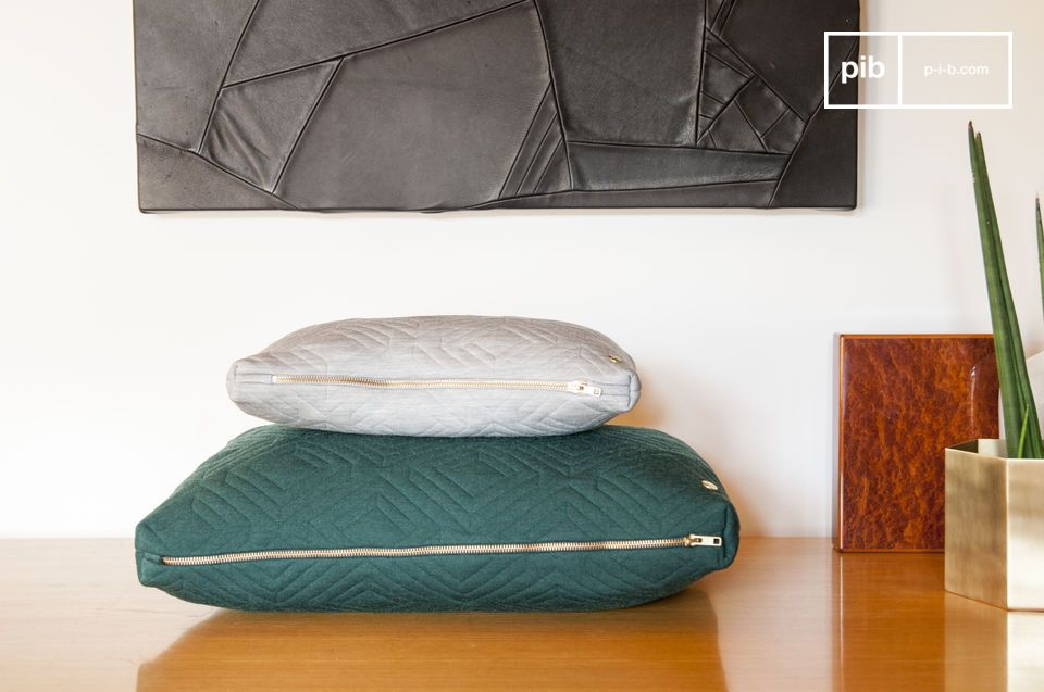 The large Quilted cushion features discreet geometric patterns