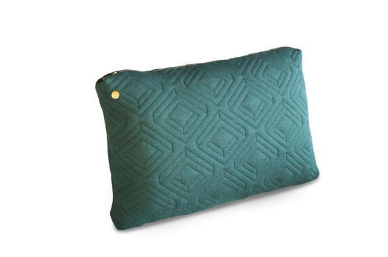 Large Dark Green Quilted Cushion Clipped