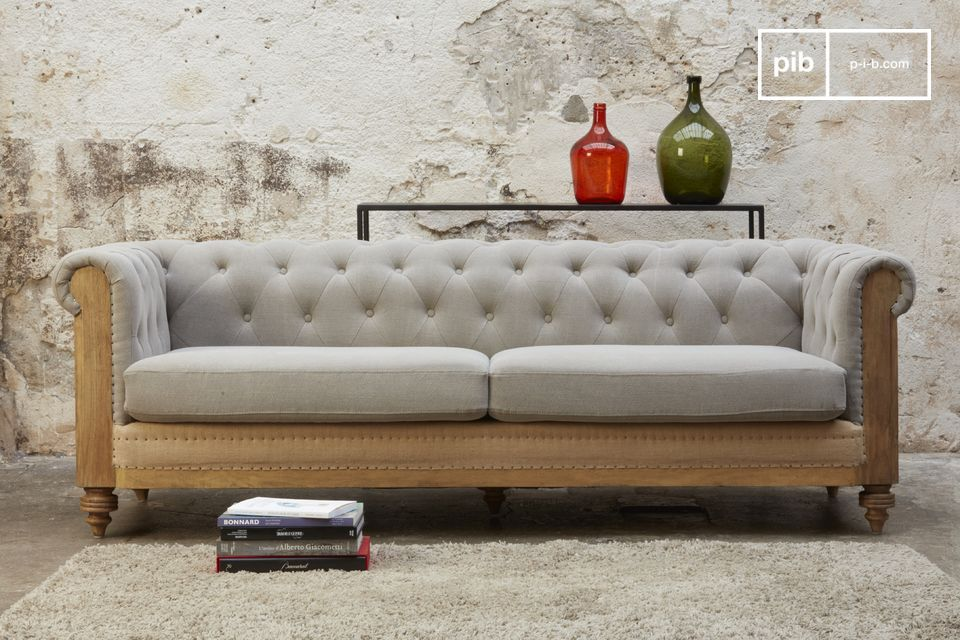 A magnificent jute sofa with an apparent structure.