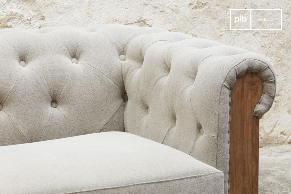The grey linen-based canvas is nailed to a superb solid wood.