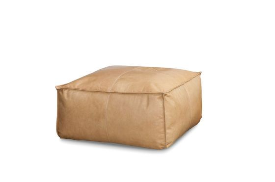 Large Marsliden Leather Pouf Clipped