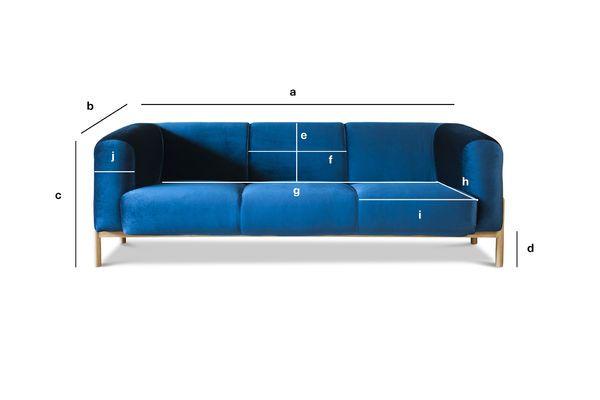 Product Dimensions Large Viela Velvet Sofa