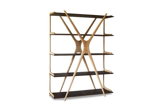 Large wooden bookcase Waverly Clipped