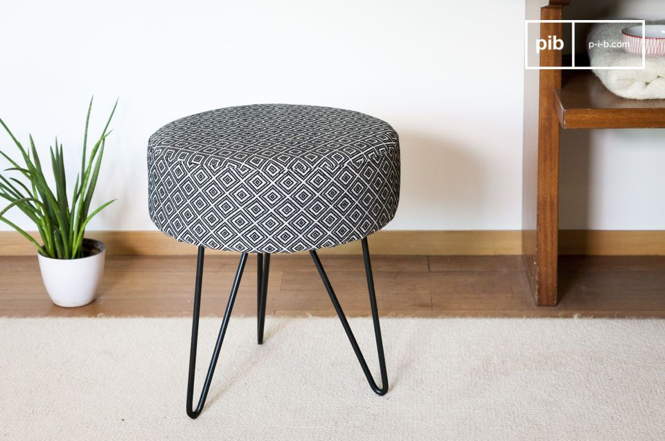 A stool that combines ethnic and international influences.