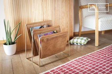 Leather and brass magazine rack Jorgen