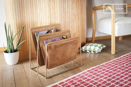 Leather and brass magazine rack Jorgen