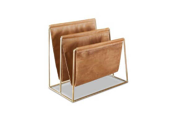 Leather and brass magazine rack Jorgen Clipped