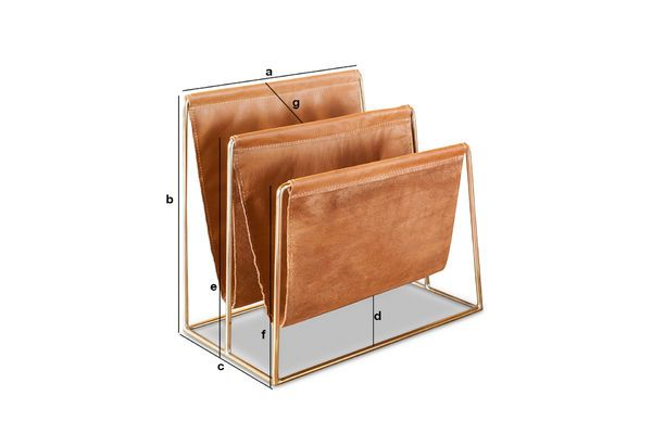 Product Dimensions Leather and brass magazine rack Jorgen