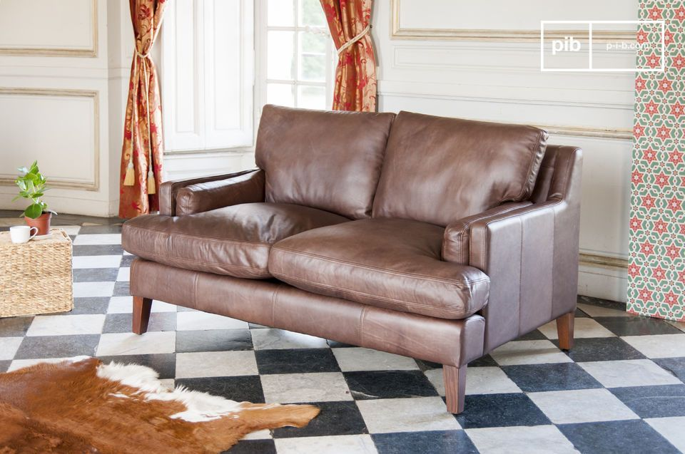 A 2 seater sofa in full grain leather with a timeless design