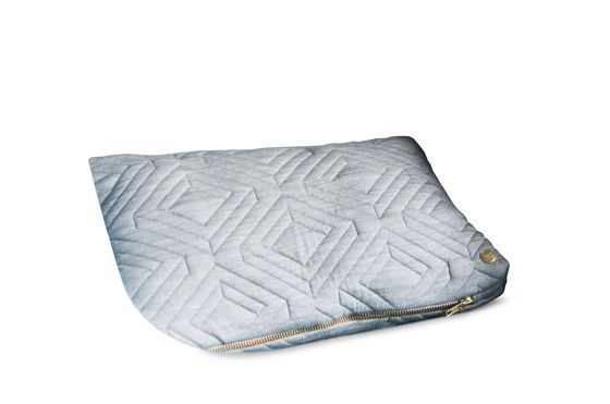 Light Grey Quilted Cushion Clipped