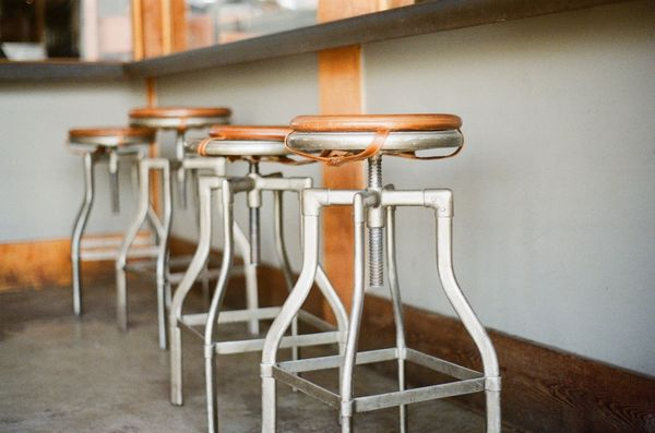 light wooden stools