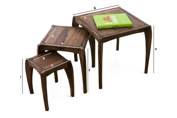 Product Dimensions Luna trio tables