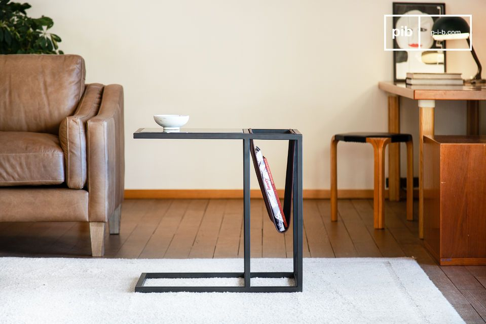 Beautiful geometric structure and stable black steel base.