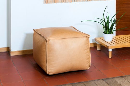 Marsliden leather pouf