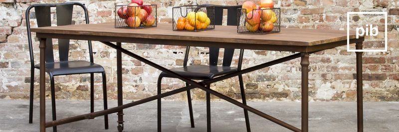 Metal and wood furniture
