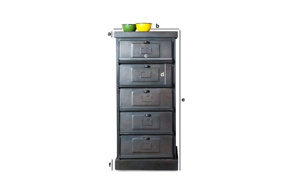 Product Dimensions Metal chest of drawers with 5 flaps