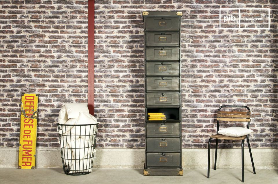 A storage unit in a vintage industrial style that will bring style to your room, while being very practical to use for files, dishes, and all daily life objects