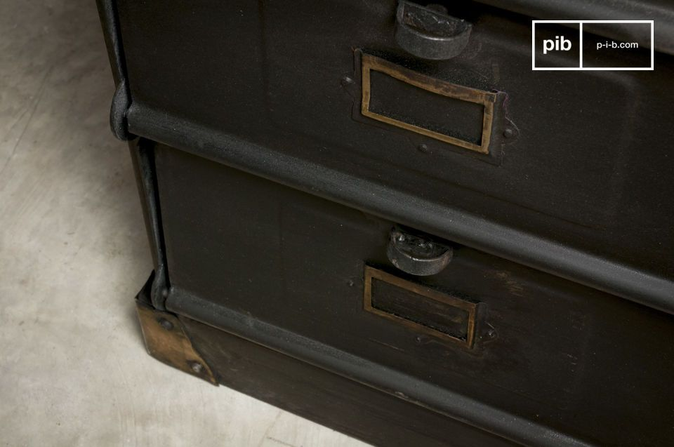 A storage unit designed with thick metal, to be personalized with small signs to slip into the label holder on each of the ten storage space