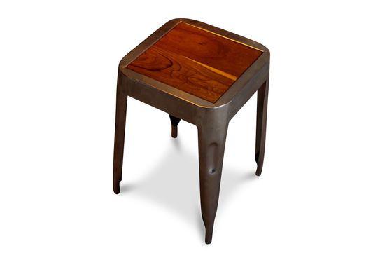 Metallic stool with teak seat Clipped