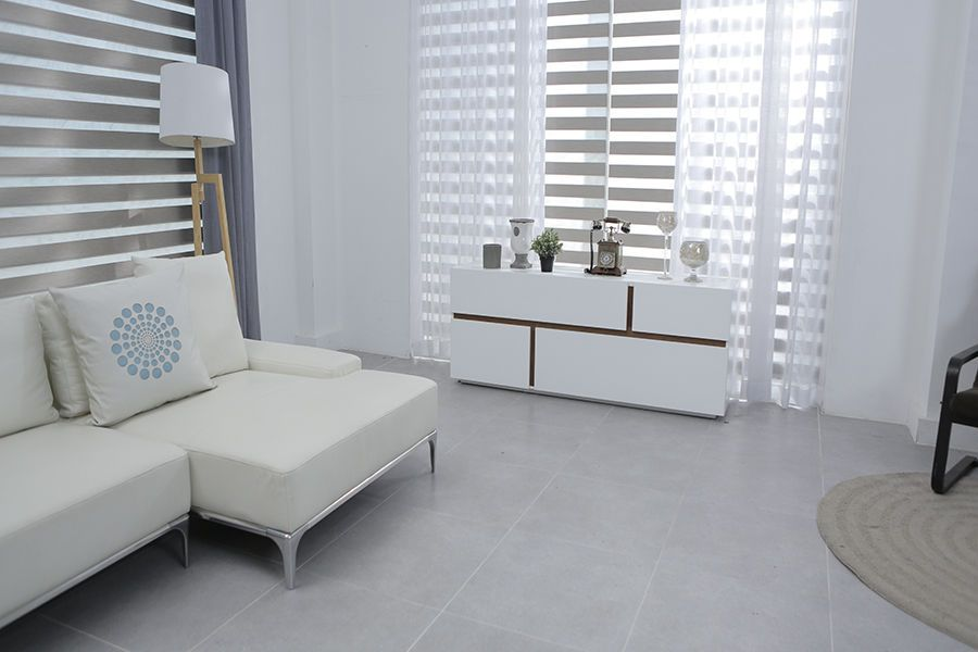 Modern white geometric interior