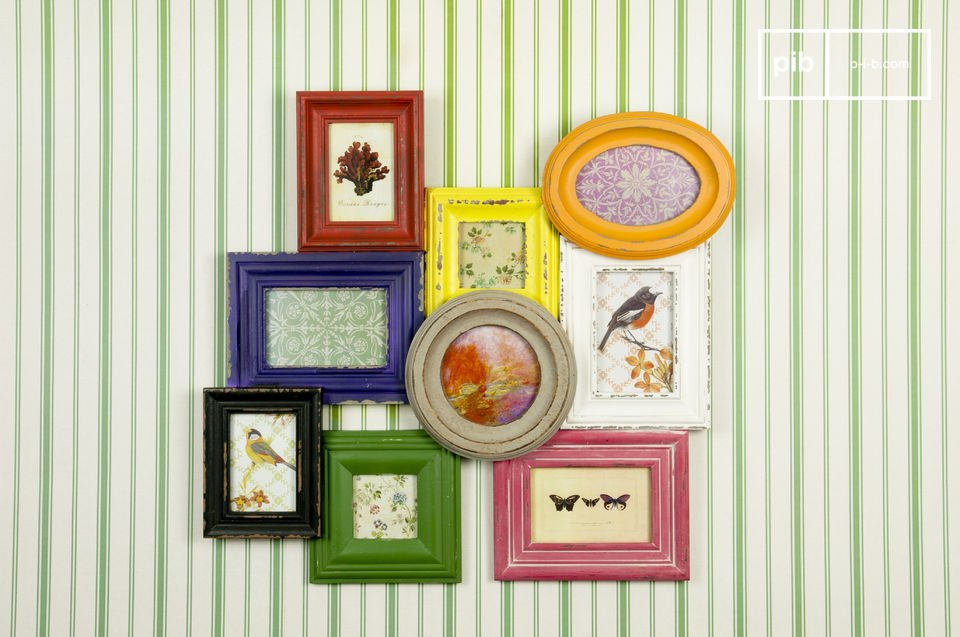 This fun wooden photo jumble adds a real splash of colour to your well