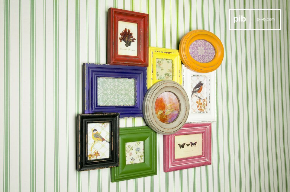 Retro and funky at the same time, this jumble will be perfect to frame your nine favourite photos in one spot